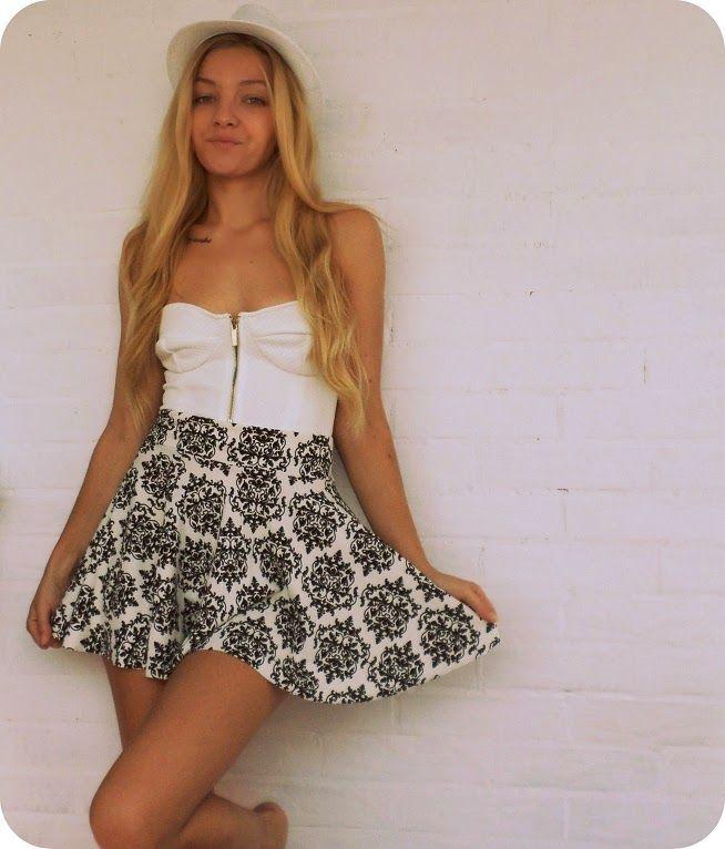 Black and white - bralet and skirt