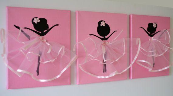 Dancing Ballerinas Wall Art. Set of three dancing by FlorasShop