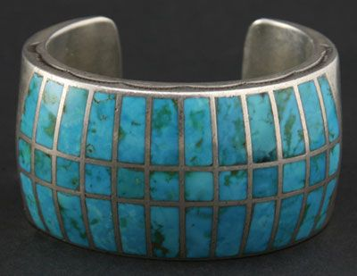 Zuni Turquoise Channel Inlay and Silver Bracelet c.1940