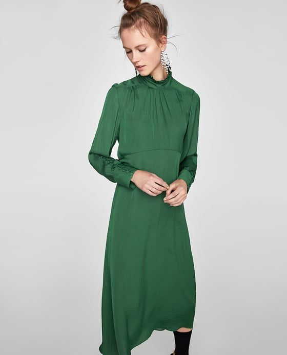 c8b77385 Image 2 of FLOWING MIDI DRESS WITH LONG SLEEVES from Zara | Fashion ...