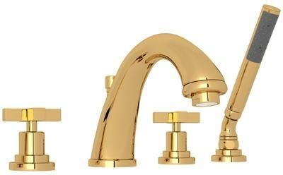 A1264XMIB Transitional Series Avanti Deck Mounted Bath Mixer with Up to 13 GPM Flow Rate Fixed Spout Metal Cross Handles and Handshower in Inca Brass