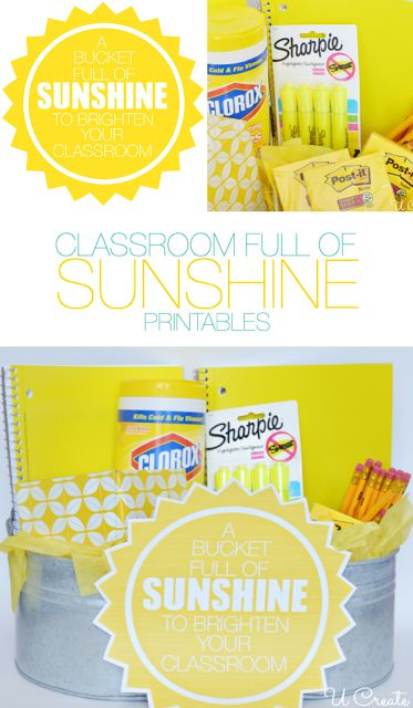 """A Bucket Full of """"SUNSHINE"""" to brighten up your classroom! Fill a bag, bucket, or anything will YELLOW school supplies! Fun gift and free pr..."""