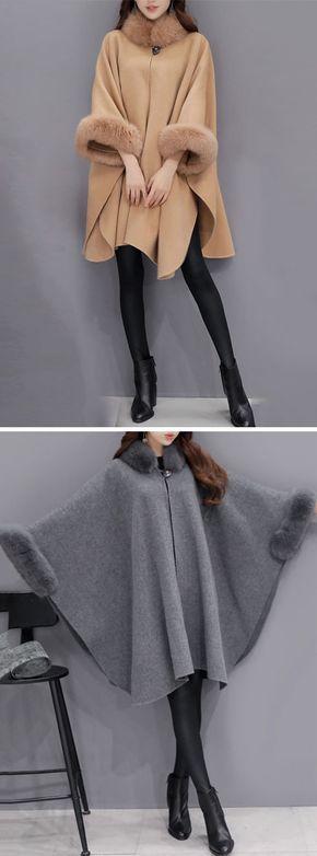[Newchic Online Shopping] US$49.87 Women Elegant Faux Fur Cloak Coats with Turtleneck