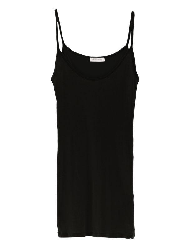Baumwoll-Trägertop Lässige Styles von American Vintage!  Transparentes schwarzes Trägertop aus hochwertiger feiner Baumwolle im geraden Schnitt mit Spaghetti-Trägern.  Das perfekte Basic-Piece - Als Layer oder einfach nur als Top!