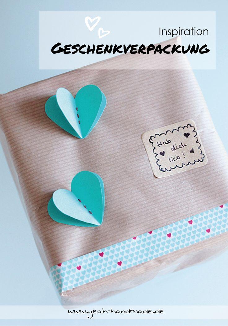 DIY Idee für eine Geschenkverpackung aus Kraftpapier, Washi Tape und gestanzten, zusammengenähten Herzen. Ideal für Geburtstagsgeschenke, Geschenke zur Hochzeit, zum Valentinstag oder nur für zwischendurch. Kreative DIY Anleitung auf Yeah Handmade.