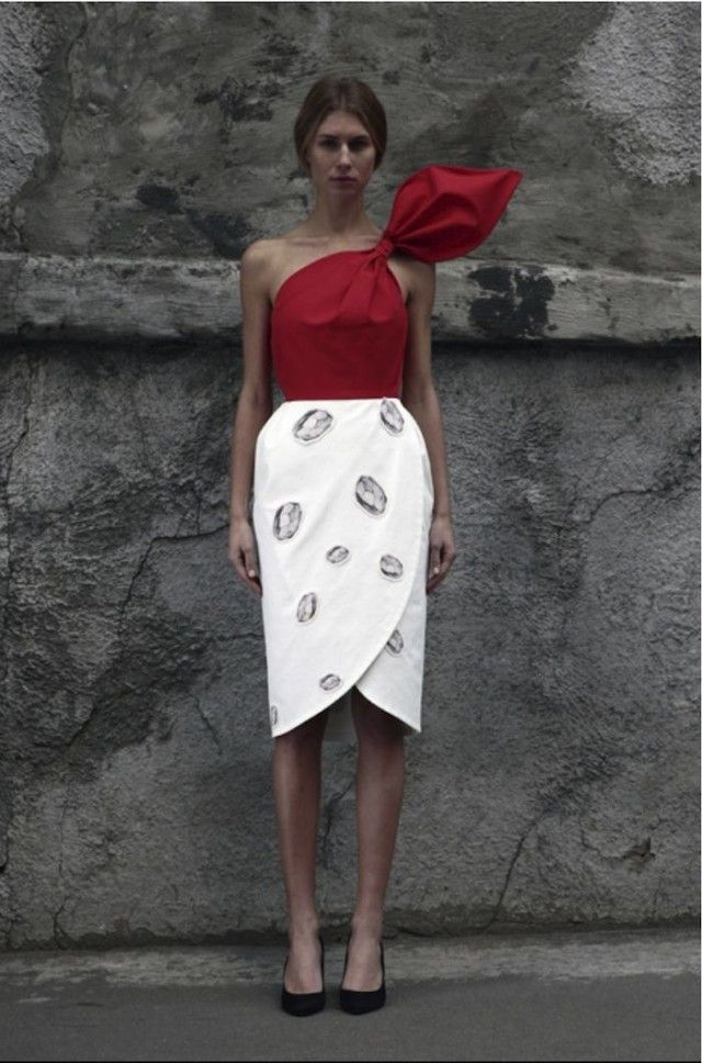 tulip skirt & bow (beautiful red) top from A Pair & A Spaire