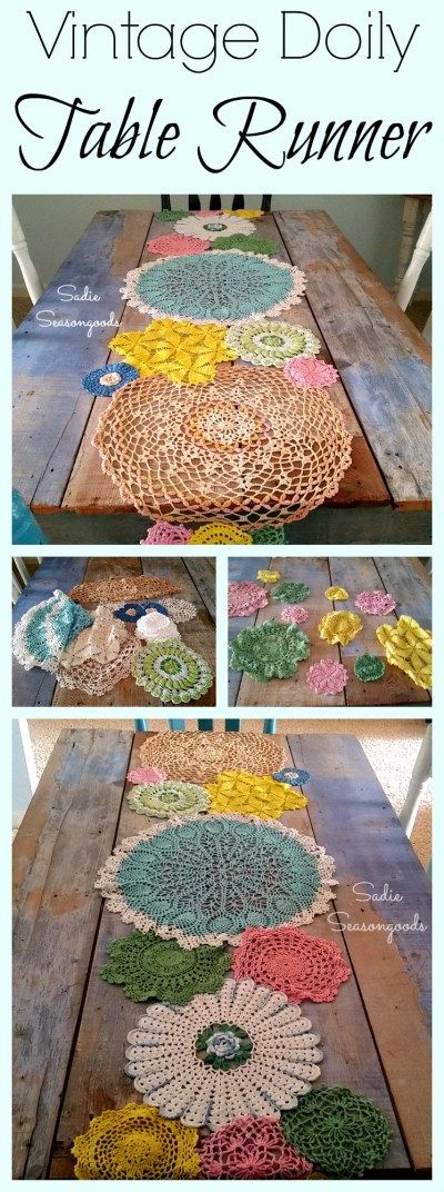 Create a gorgeous table runner for Spring by repurposing vintage crocheted doilies! Dye the plain ones in fun Spring colors- pink, green, yellow, and blue! And keep your eyes peeled for Grandma's colorful doilies, with flowers and layers of fresh color. Easy to stitch together and a real conversation piece. Fun DIY Upcycle by Sadie Seasongoods / www.sadieseasongoods.com