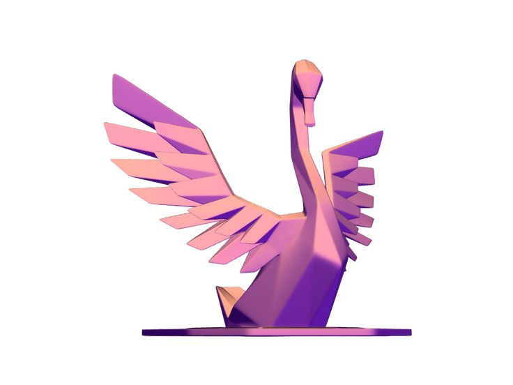 Lowpoly swan - a 3D model created with VECTARY - the free online 3D modeling tool #3Dprinting