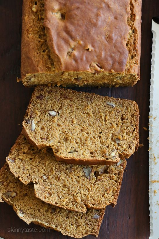 So moist and flavorful, made light by replacing butter with lots of bananas, pumpkin and apple sauce. Madison, my youngest daughter LOVES banana bread, so I bake it quite often just for her. I was cur