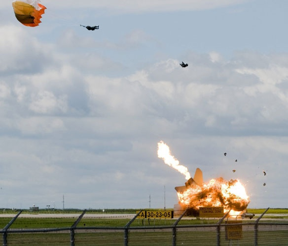 Yipe-a-roonie!  CF-18 pilot successfully ejects from a fighter jet before it crashes.
