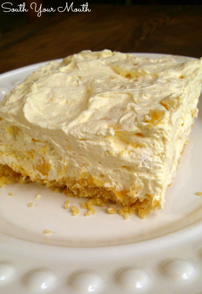 Pig Pickin' Pie (light crushed pineapple, cool whip, vanilla pudding pie) from South Your Mouth