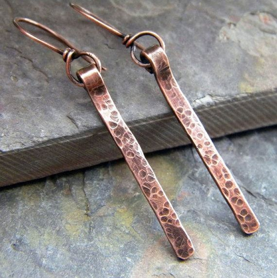 hammered copper stick earrings by DreamBelle Designs #Etsy