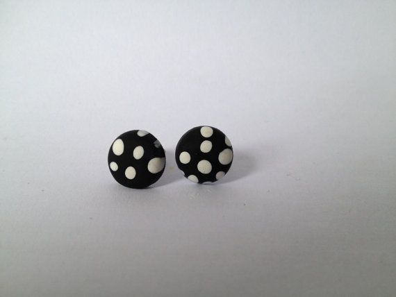 Black Polka Dot Round Polymer Surgical Steel by FawknerStDesigns, $10.00