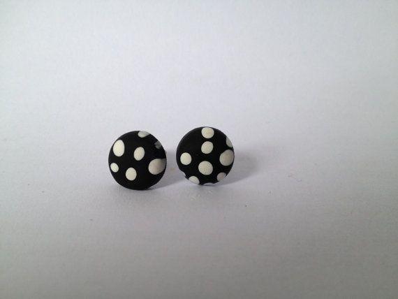 Black Polka Dot Round Polymer Surgical Steel by FawknerStDesigns, $10.00