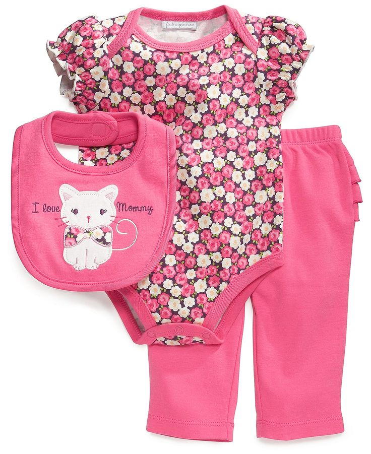 Baby Clothes: First Impressions Baby Set, Baby Girls Floral 3-Piece Bib, Bodysuit and Pants - Kids Baby Girl (0-24 months) - Macy's