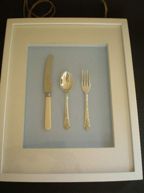Shadow box frame upcycled spoon fork and knife blue and ...