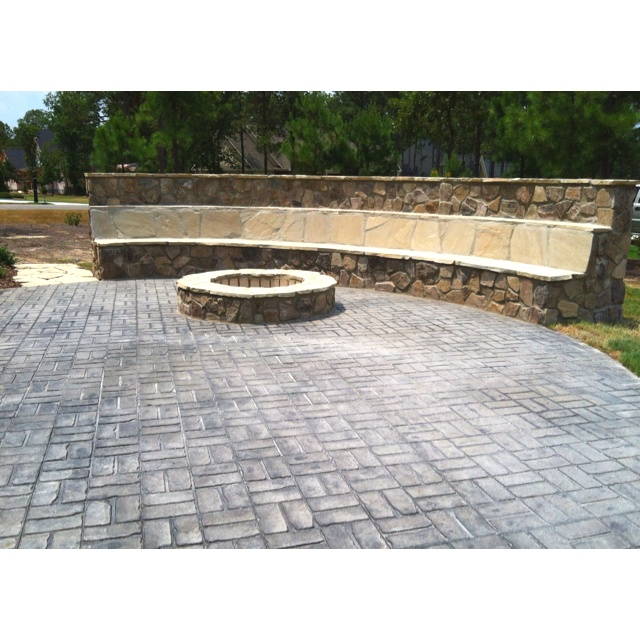 Patio Stone Seating Wall U0026 Fire Pit