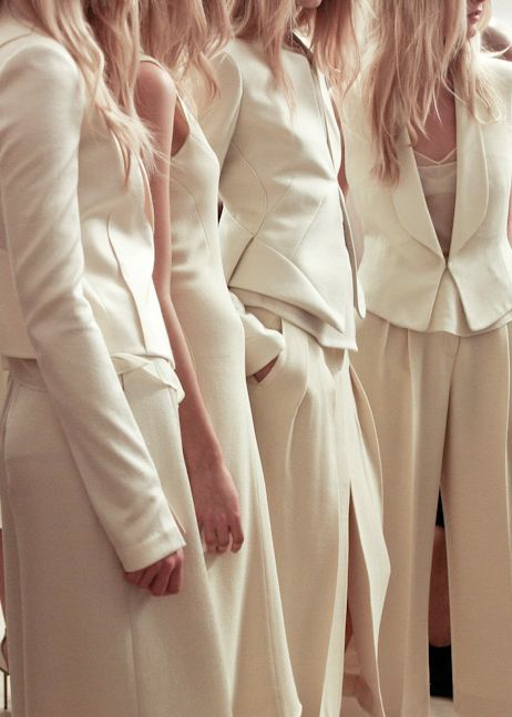 bridesmaids  in pants!!  Very cute!! also, mixed with skirts and dresses.  I think this might be nice.
