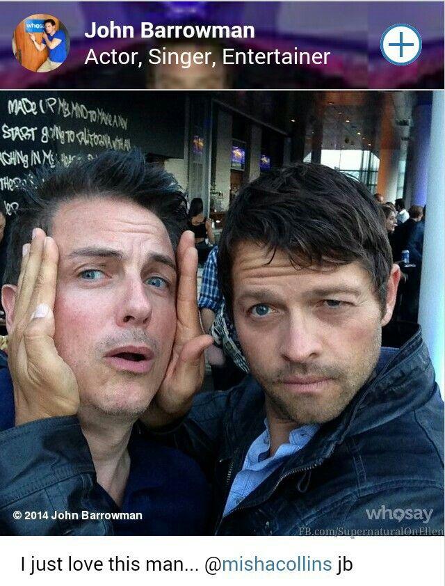 Misha Collins & John Barrowman #Supernatural #SpnFamily #MishaCollins #Castiel #SPN #SpnFans #SpnTweets #ComicCon2014 #SDCC