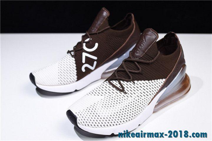 5bfefb059531 Nike Air Max 270 Summer Mens Sneaker Flyknit Dark Brown White