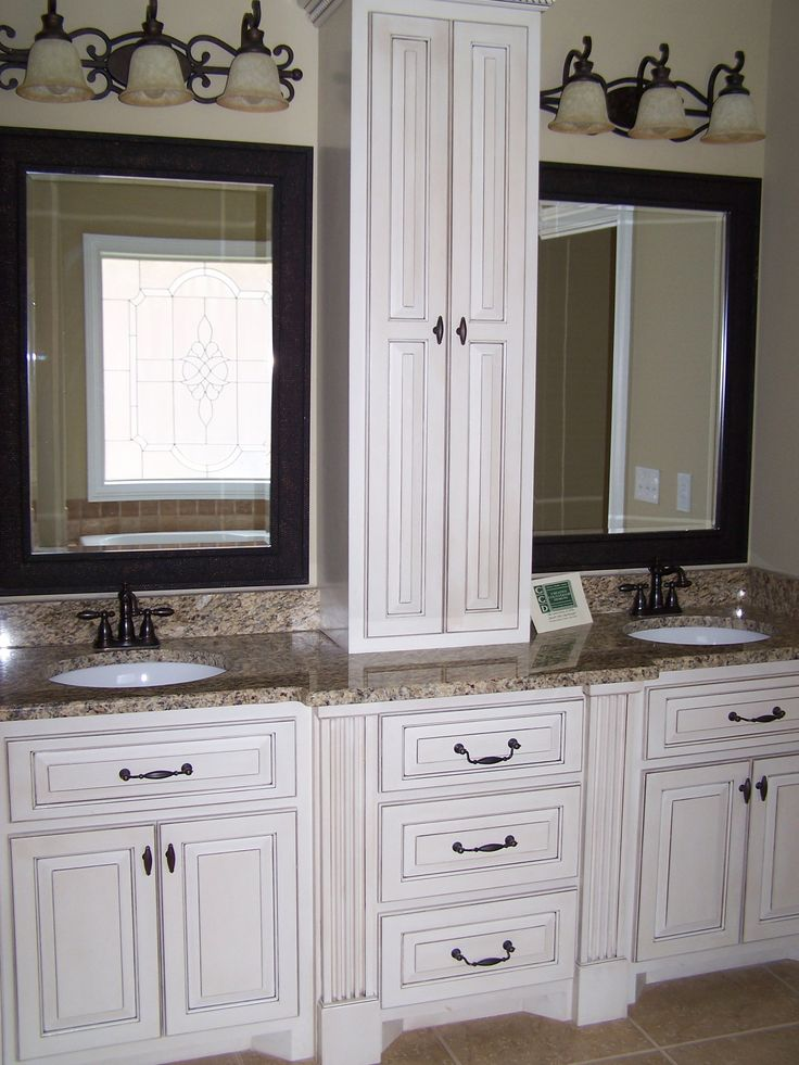 Bathroom Cabinet Vintage Custom Bathroom Vanity Tops With Brown Granite Top On Undermount Sink Under Oil Rubbed Bronze Faucet In Front Sim