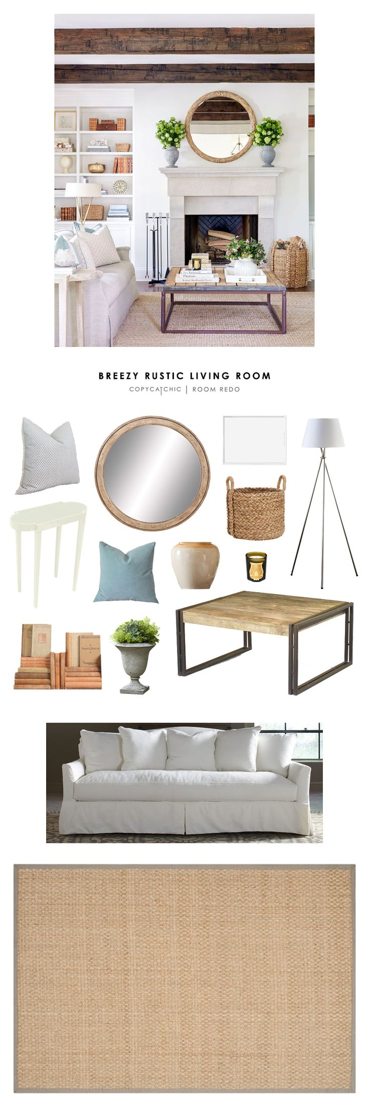 Copy Cat Chic Room Redo | Breezy Rustic Living Room
