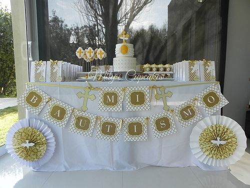 White and gold Baptism dessert table