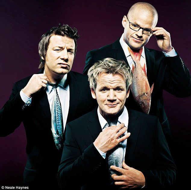 Chef Heston Blumenthal with Chef Gordon Ramsay and Chef Jamie Oliver.