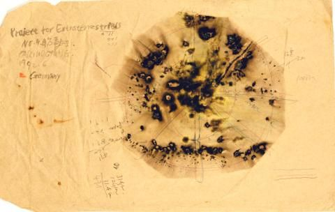 Cai Guo-Qiang (b. 1957, Quanzhou, China; lives in New York) Drawing for Fetus Movement II: Project for Extraterrestrials No. 9 1992 Gunpowder, ink, and pen on paper envelope 26.5 x 42 cm (10 7/16 x 16 9/16 in.) Collection of the artist