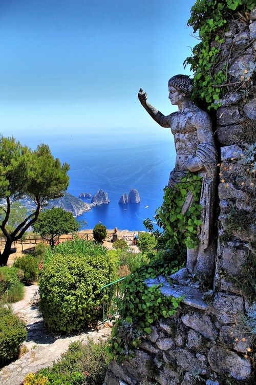 Statue, Isle of Capri, Italy I miss this blue ocean.