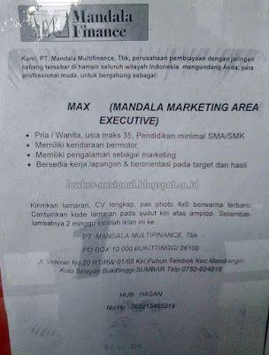 Download File        LOWONGAN KERJA  PT. Mandala Multifinance Tbk adalah perusahaan pembiayaan sepeda motor yang memiliki lebih dari ...
