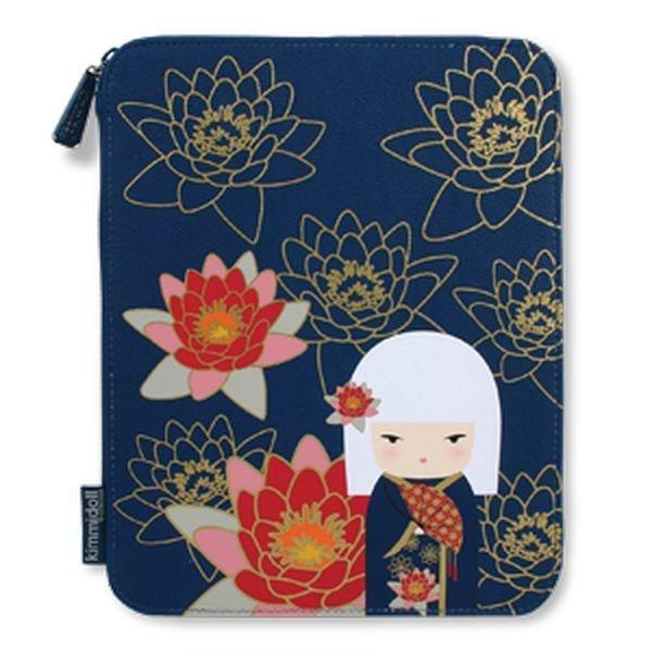 Kimmidoll iPad cover 'Eika' / Kokeshi doll in kimono, with waterlilies on blue background