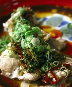 Kylie Kwong's  steamed chicken with hot and sour dressing