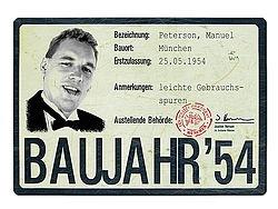 Historisches Nummernschild zum Geburtstag