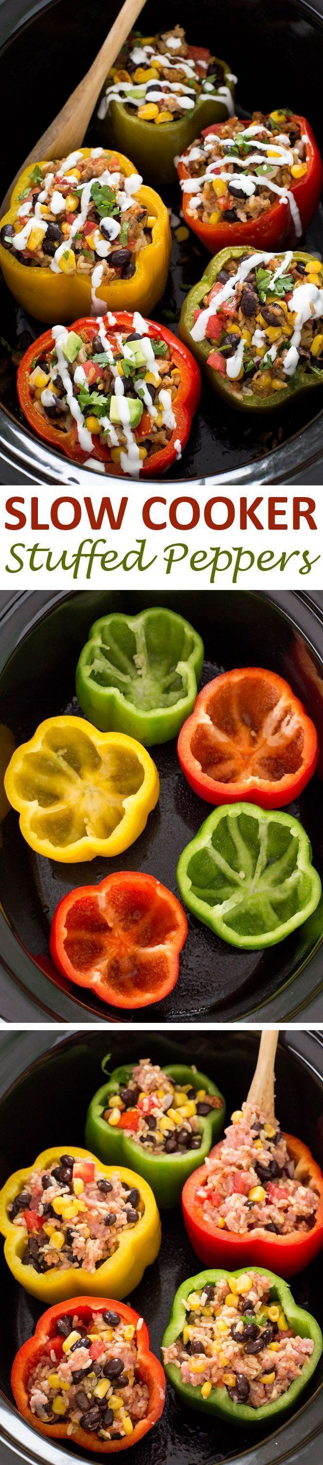 Mexican Slow Cooker Stuffed Peppers. Loaded with enchilada sauce, black beans and corn