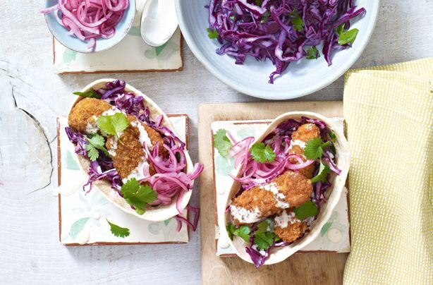 Crispy fish tacos with zingy coleslaw make a Mexican-inspired dinner that everyone can make themselves at the table, full of bright colours and flavours. You might never have thought to try this with readymade fish goujons, but you'll come back to this recipe again and again once you've tried it. The zingy coleslaw is much lighter than a classic coleslaw recipe as it doesn't use mayonnaise - and the lime and chillies add plenty of zing and kick. Serve with a starter or guacamole and…