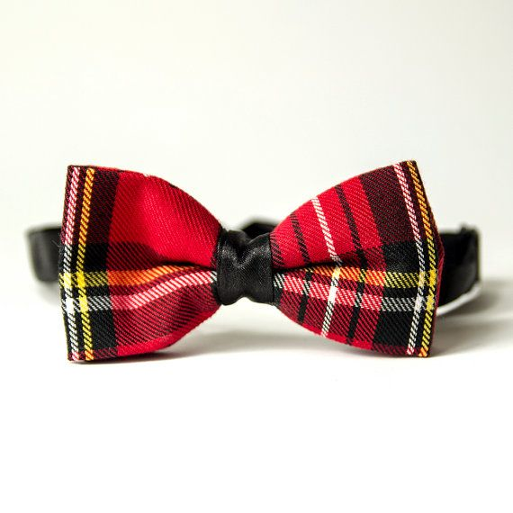 Red Tartan Men's Bow Tie by RagnBow on Etsy
