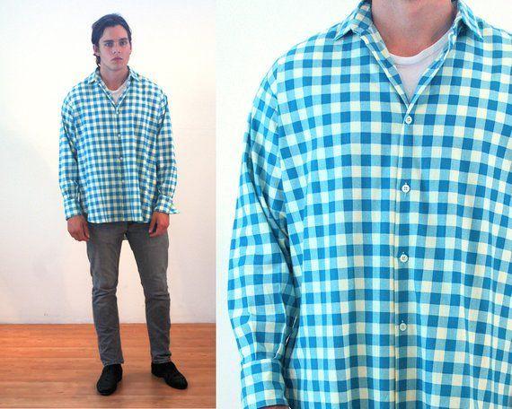 Blue Plaid Shirt Vintage Plaid Button Down Shirt Vintage Blue Checkered Button Up Shirt Vintage Blue Plaid Extra-Large Shirt Men/'s XL Shirt
