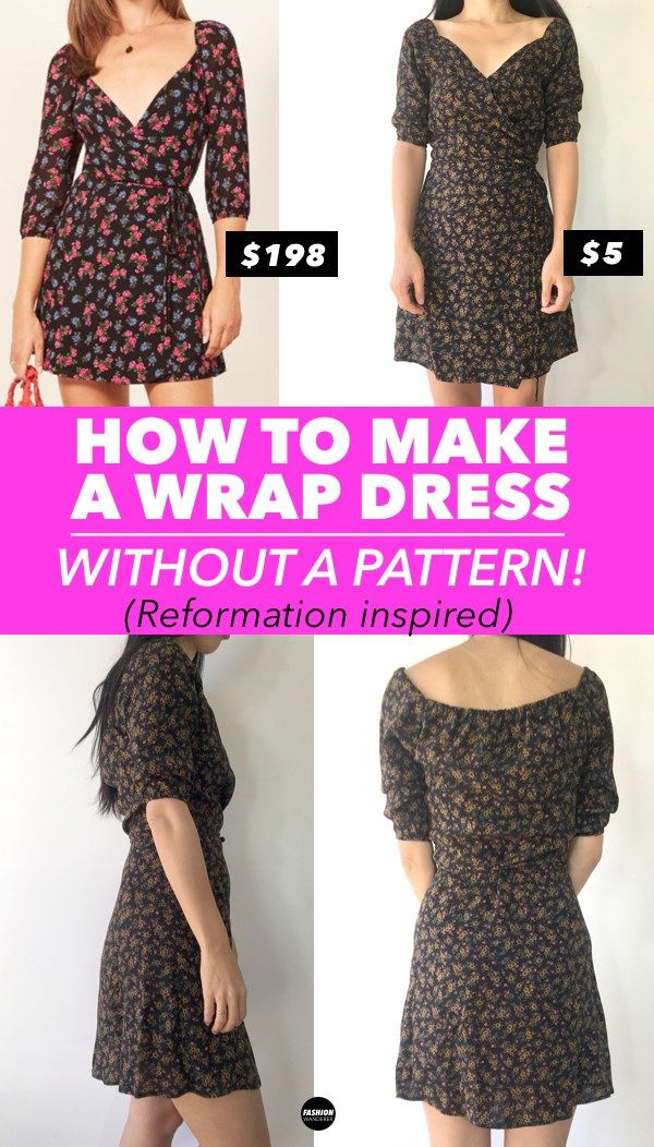bf29983ea3 Love this how to make a wrap dress without a pattern! This DIY Reformation  inspired wrap dress tutorial is easy and simple to make with ties sewing  tips and ...