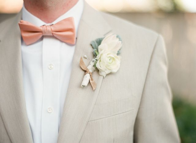 pinkish peach bowtie / Marcie Meredith Photography