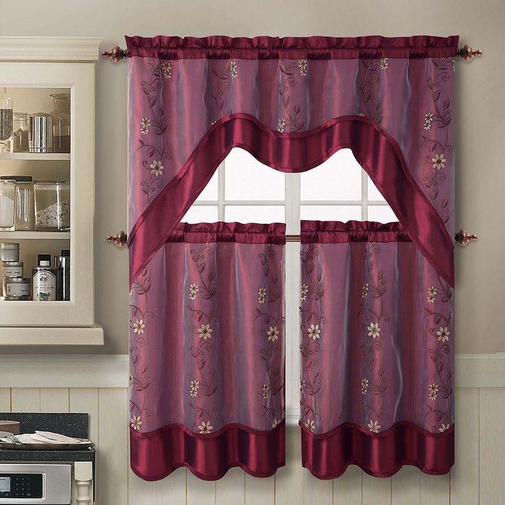 Duck River Rivietta Floral Linen 3 Piece Kitchen Curtain: 25+ Best Ideas About Kitchen Curtain Sets On Pinterest