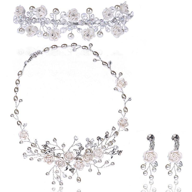 Ручной работы невесты аксессуары расчёска для волос невесты ожерелье свадьба аксессуары цепь комплект комплект частей комплект купить на AliExpress