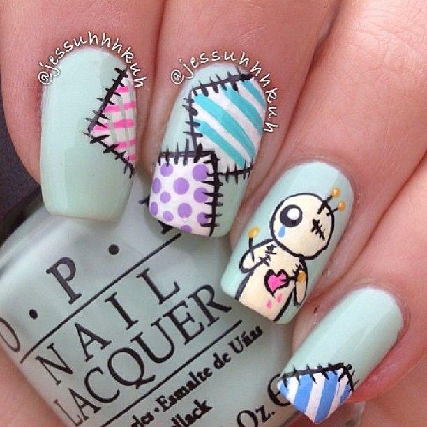 VooDoo doll nails  How cute!!   Nails by @Jess Pearl Pearl Pearl Pearl Liu Chasar - @thenailartstory- #webstagram