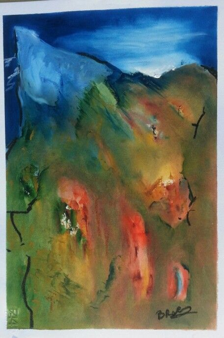 The Sacred Mountain oil on paper 35x50