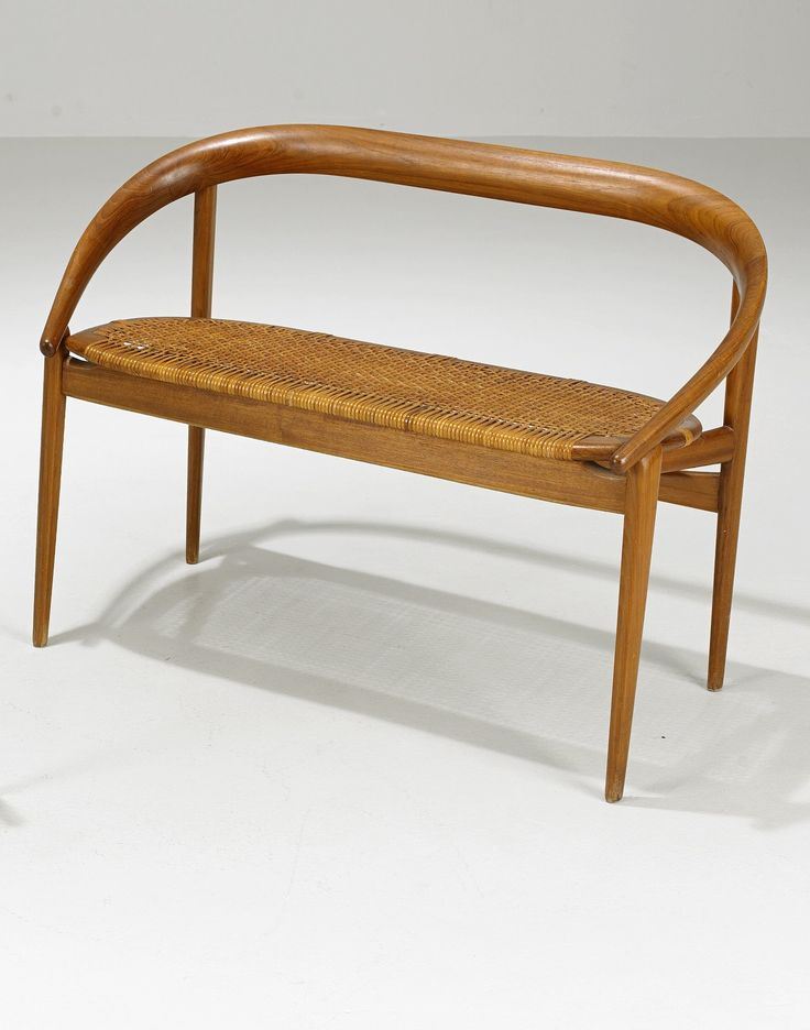 Brockman Petersen Teak And Cane Bench 1950s Seat Pinterest Teak Canes And Benches