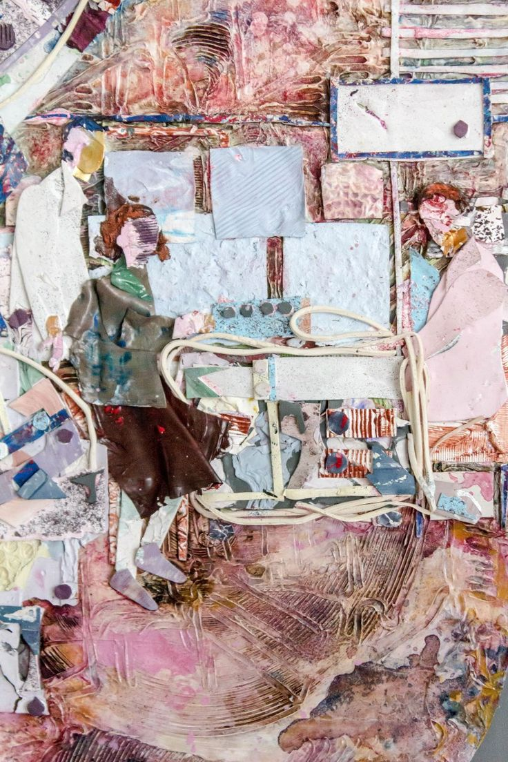 In the Factory 2 - painting/collage constructed out of acrylic and household paint skins - Riin Kaljurand