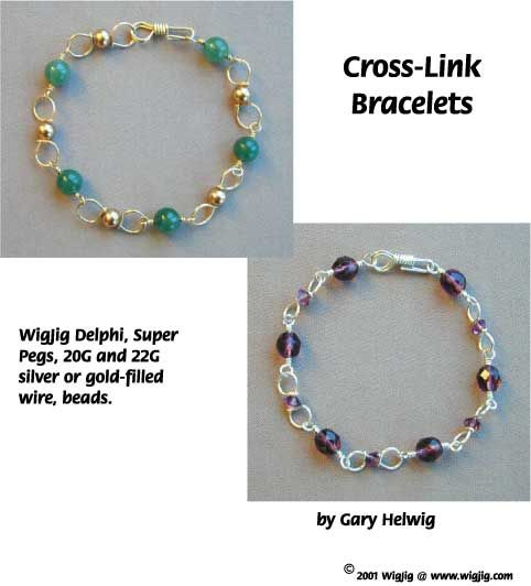 Cross Link Wire and Beads Bracelet made with WigJig jewelry making tools and jewelry supplies.