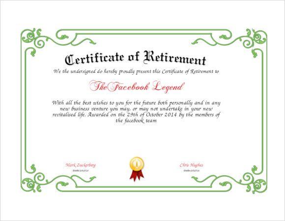 retirement certificates wording
