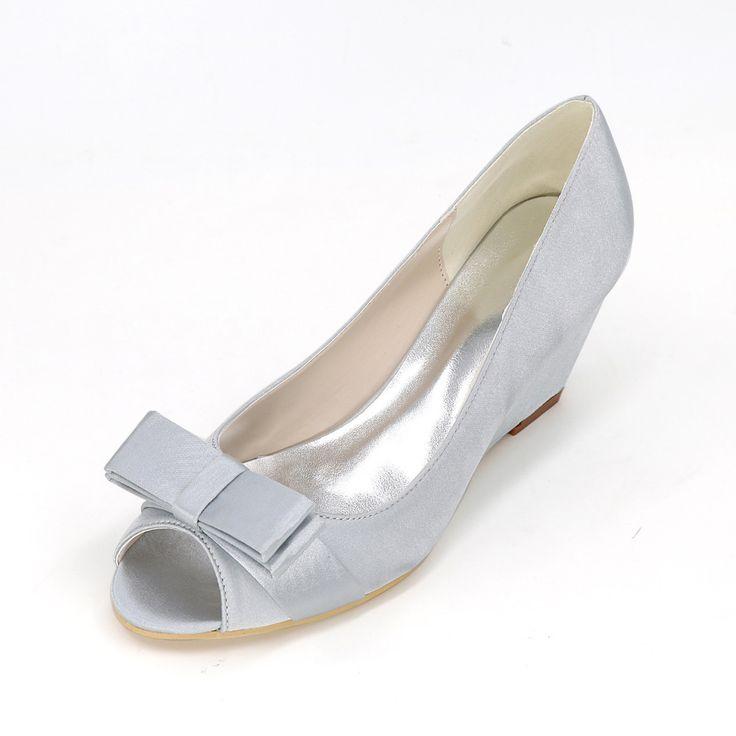 Элегантные свадебные клинья средний каблук атласные туфли с цветок лук бантом леди туфли королевский синий шампанское фиолетовый белый(China (Mainland))