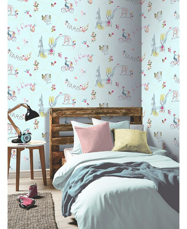 The Paris With love Wallpaper by Arthouse will give your little one's bedroom or playroom that certain je ne sais quoi! The ultra chic design shows illustrations of some of the most iconic Parisian landmarks sprinkled with sparkling glitter highlights.